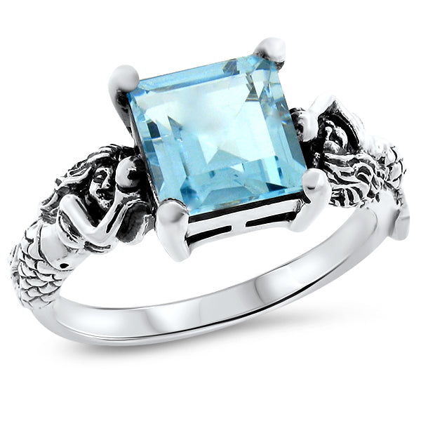 925 Sterling Silver Antique Victorian Style 3 Carat Genuine Ocean Sky Blue Topaz Mermaid Ring #30811