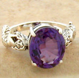 Sterling Silver Antique Victorian Style 5 Carat Alexandrite Mermaid Ring #30812
