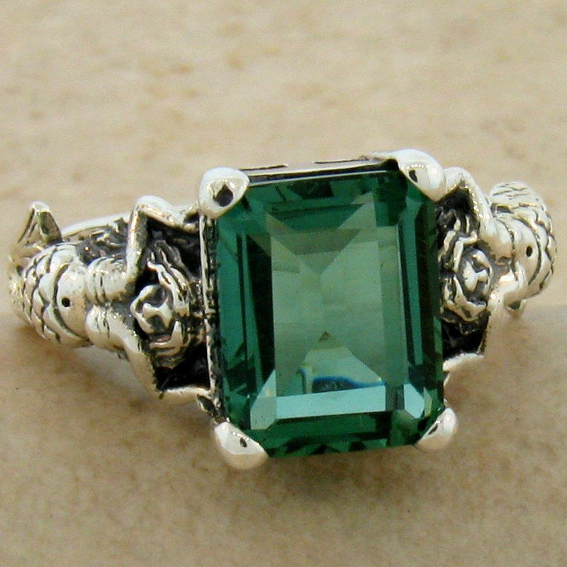 Sterling Silver Victorian 3 Carat Emerald Green Quartz Mermaid Ring #30828