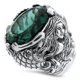 Sterling Silver Antique Victorian Style Emerald Green Quartz Mermaid Ring #30829