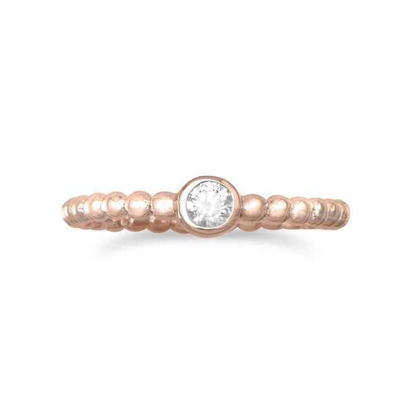 14 Karat Rose Gold Plated CZ Ring Item #: 83258