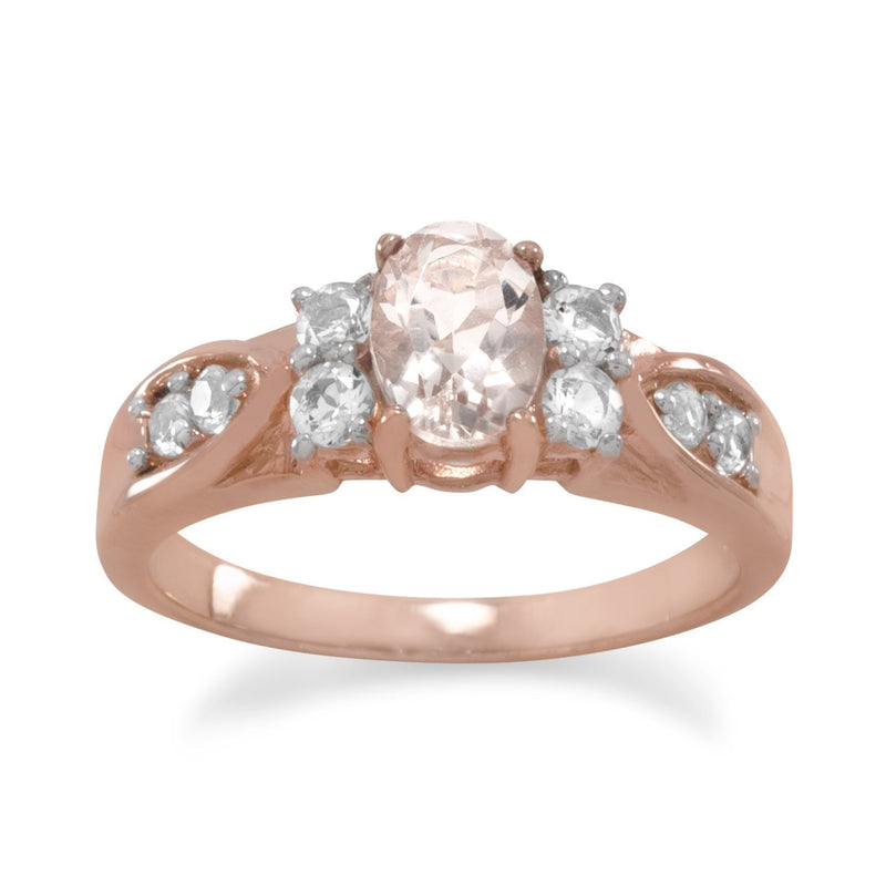 14 Karat Rose Gold Plated Morganite and White Topaz Ring Item #: 83658
