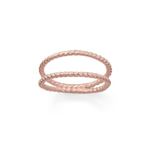 14 Karat Rose Gold Plated Rope Twist Double Band Ring Item #: 83792