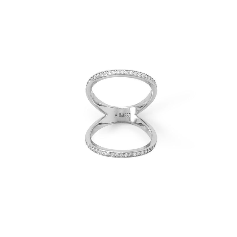 Rhodium Plated CZ Double Band Knuckle Ring