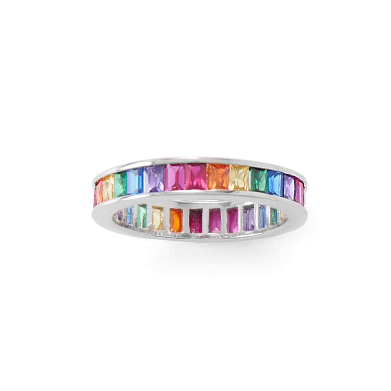Rhodium Plated Rainbow CZ Ring