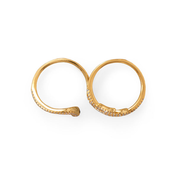 Sassy Serpent! 14 Karat Gold Plated CZ Wrap Snake Ring