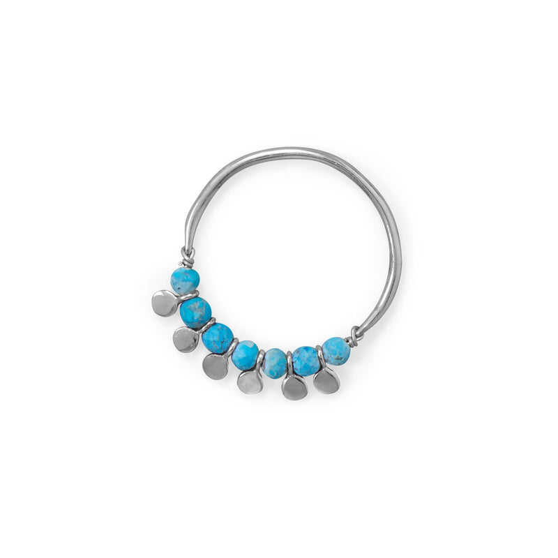 Rhodium Plated Synthetic Turquoise Bead and Disk Ring