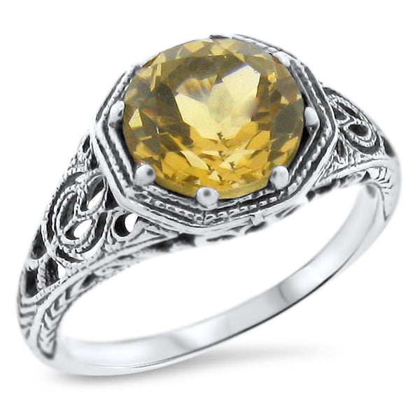 925 Sterling Silver Antique Art Deco Style Genuine Citrine Filigree Ring #30845