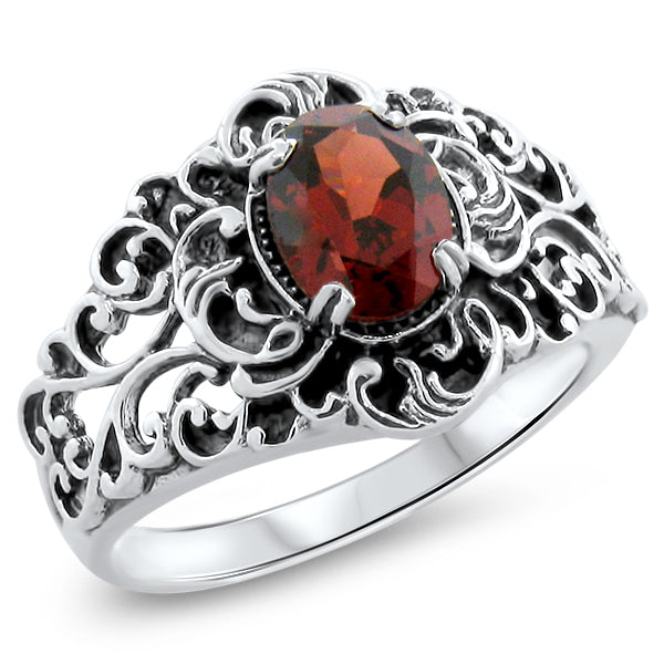 925 Sterling Silver Antique Style Genuine Garnet Filigree Ring #30865