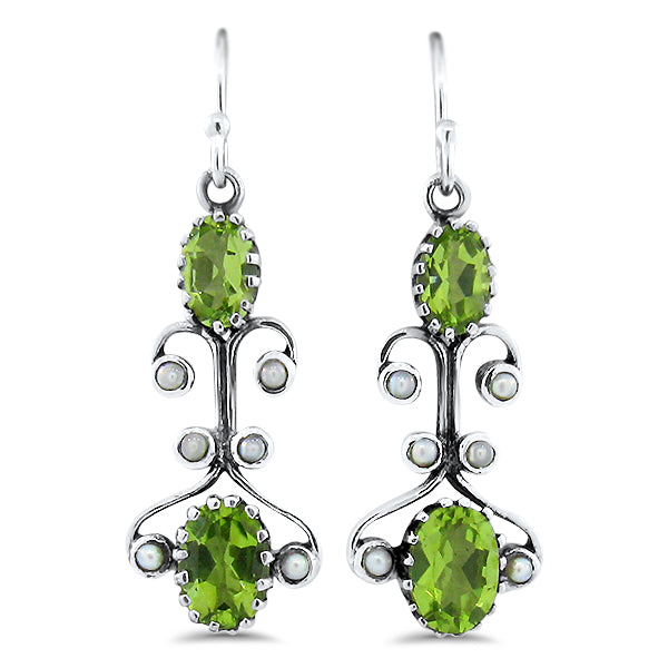 Sterling Silver Victorian Style Genuine Peridot &  Pearl Wire Back Earrings #30884