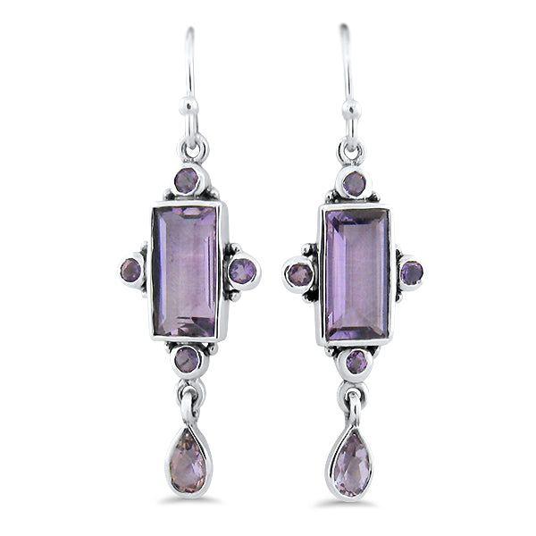 Sterling Silver Antique Victorian Style Genuine Brazilian Amethyst Wire Back Earrings #30885