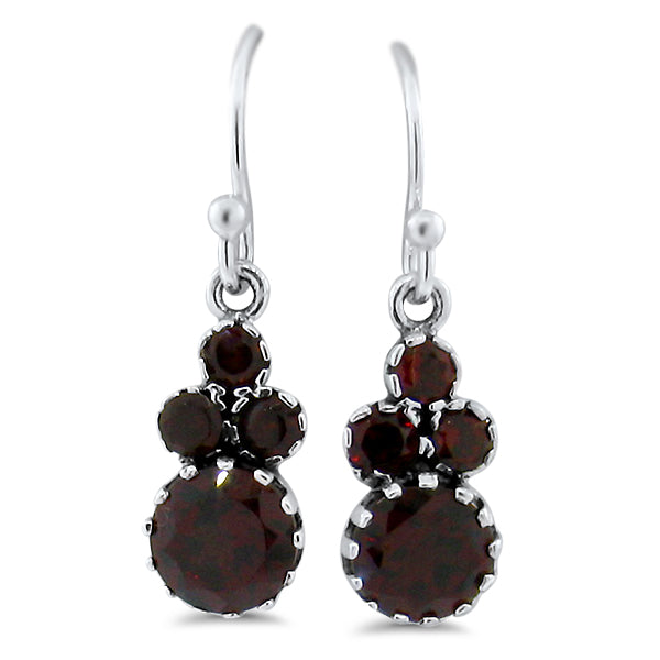 925 Sterling Silver Antique Victorian Style Genuine Garnet Wire Back Earrings #30886
