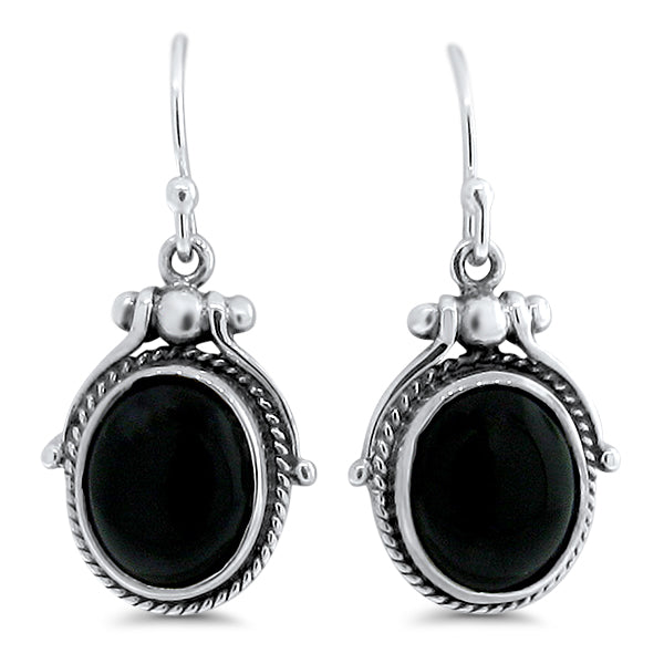 Sterling Silver Antique Victorian Style Genuine Black Agate Wire Back Earrings #30887