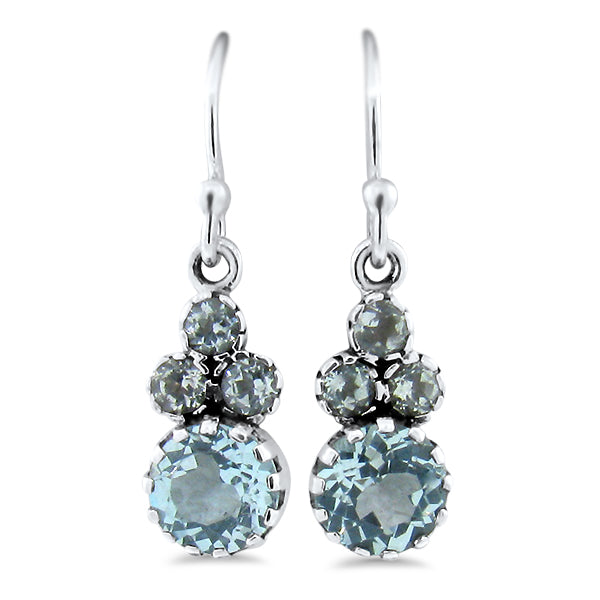 925 Sterling Silver Antique Victorian Style Genuine Sky Blue Topaz Wire Back Earrings #30889