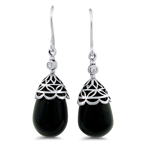 925 Sterling Silver Antique Style Genuine Black Agate & C.Z. Wire Back Earrings #30896
