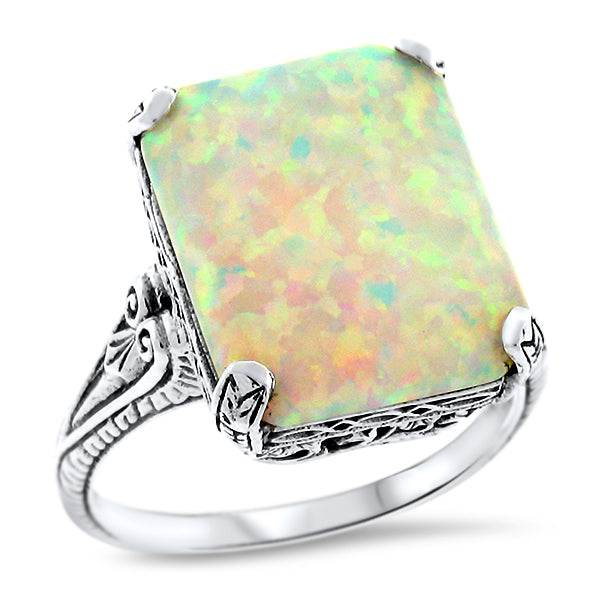925 Sterling Silver 3 Carat Synthetic White Opal Antique Style Filigree Ring #30919