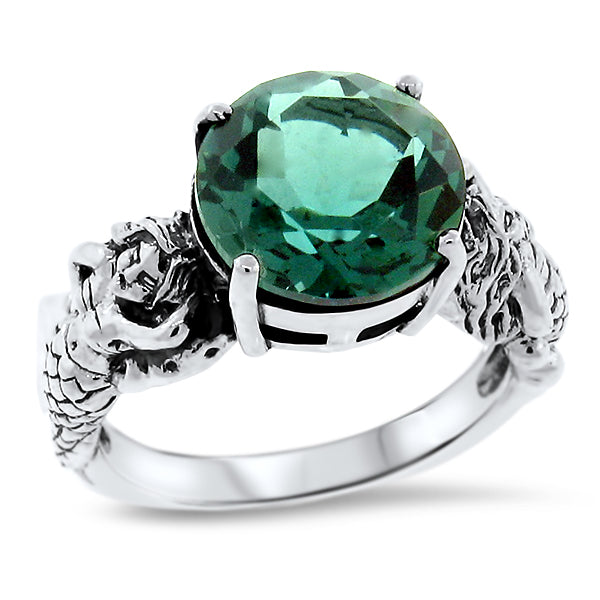 925 Sterling Silver Green Amethyst Antique Style Mermaid Ring #30920