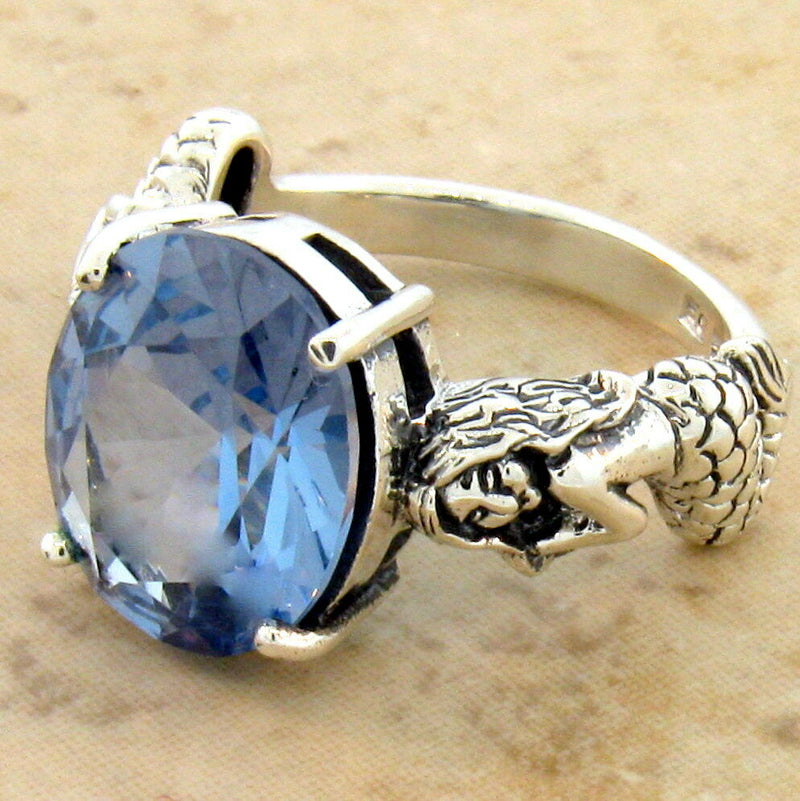925 Sterling Silver Synthetic Spinel In Aquamarine Color Victorian Style Mermaid Ring #30931