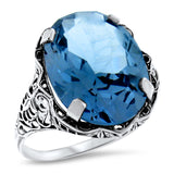Sterling Silver Antique Style 10 Carat Synthetic Spinel In Aquamarine Color Ring #30939
