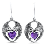 Sterling Silver Genuine Amethyst Heart Shaped Antique Style Lovebird Earrings #30944