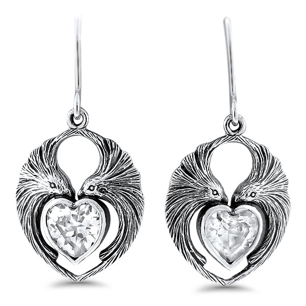 925 Sterling Silver Antique Style Heart Shaped Cubic Zirconia Lovebird Earrings #30945