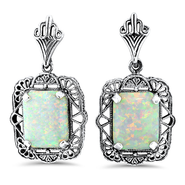 925 Sterling Silver White Opal Antique Filigree Style Earrings #30947