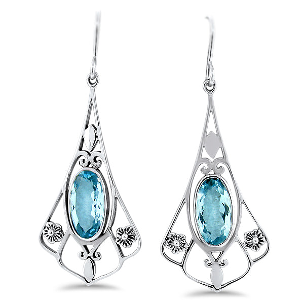 925 Sterling Silver Genuine Sky Blue Topaz Antique Victorian Style Earrings #30948