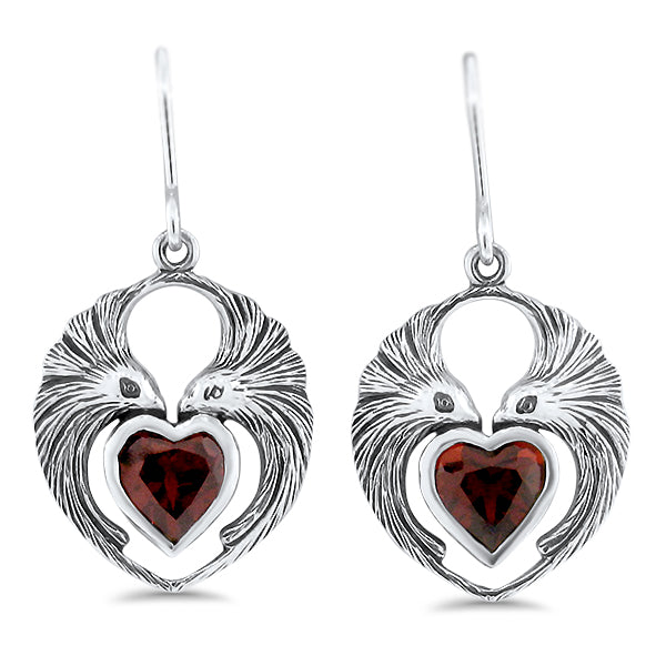 Sterling Silver Genuine Heart shaped Garnet Lovebird Antique Style Earrings #30949