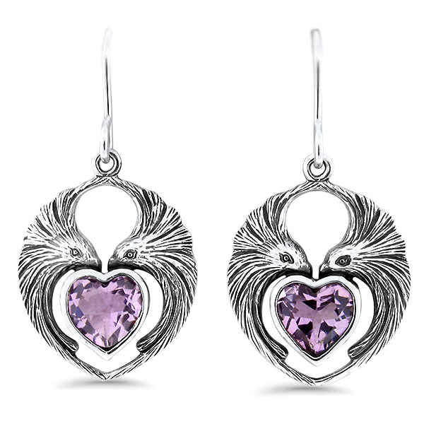 Sterling Silver Genuine Heart Shaped Brazilian Amethyst Lovebird Earrings #30951