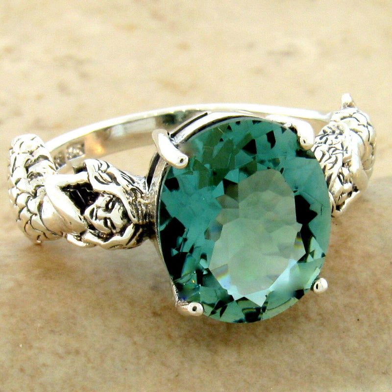 925 Sterling Silver Antique Victorian Green Amethyst Mermaid Ring #30956