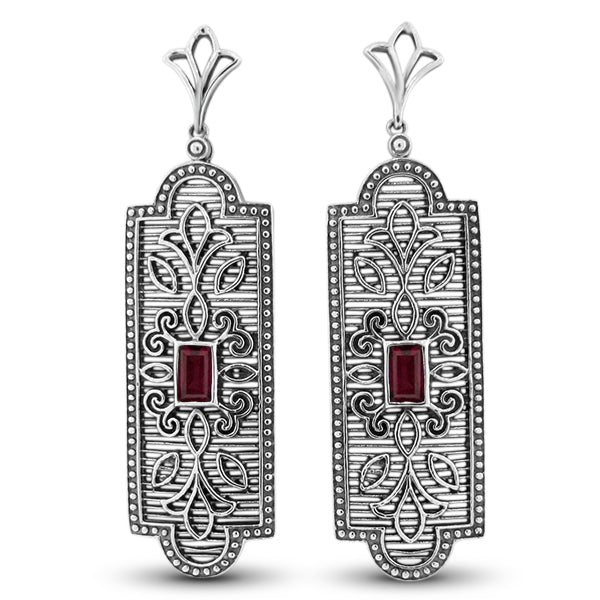 925 Sterling Silver Genuine Ruby Antique Filigree Style Earrings #30966