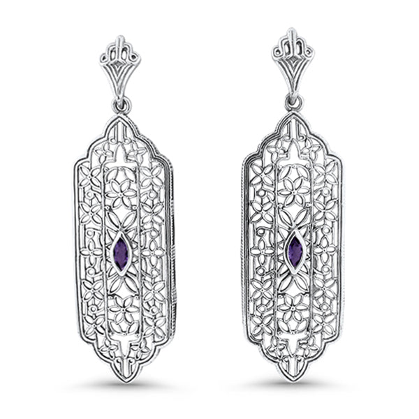 925 Sterling Silver Genuine Amethyst Antique Filigree Style Earrings #30967