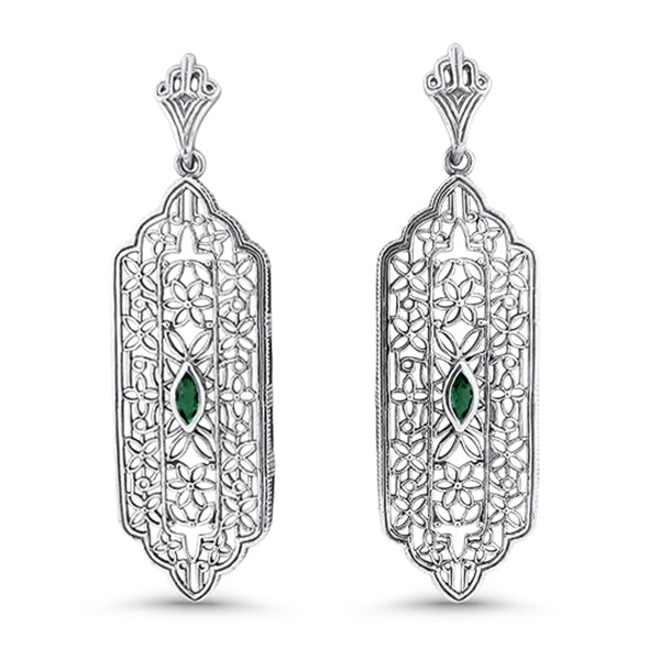 Genuine Emerald .925 Solid Sterling Silver Antique Style Filigree Earrings #30969