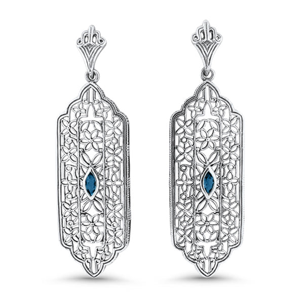 Genuine London Blue Topaz Solid Sterling Silver Antique Style Filigree Earrings #30971