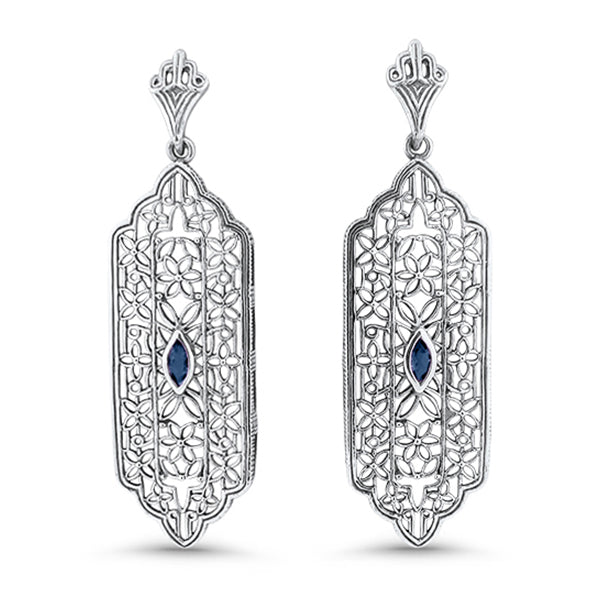 Genuine Sapphire .925 Solid Sterling Silver Antique Style Filigree Earrings #30980