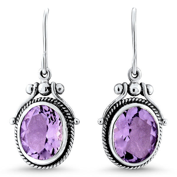 5.50 Carat T.W. Genuine Brazilian Amethyst .925 Solid Sterling Silver Antique Style Earrings. #30982