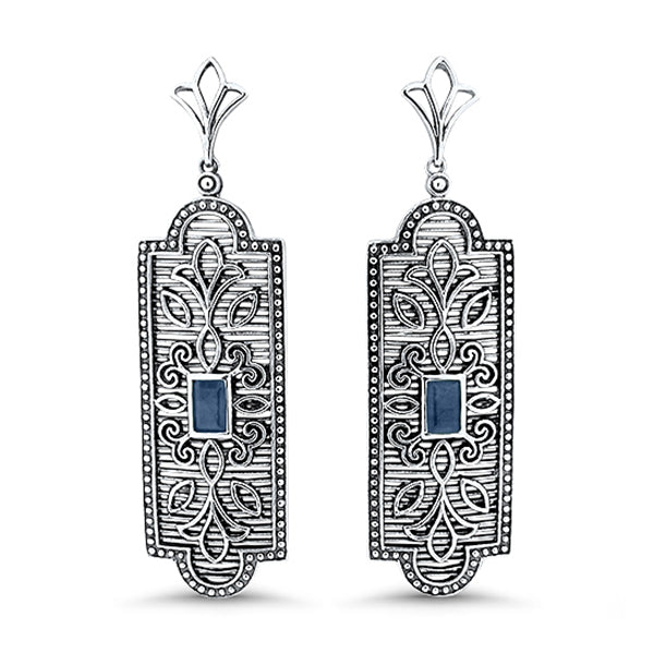 Genuine Sapphire .925 Solid Sterling Silver Antique Style Filigree Earrings #30985