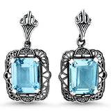 Genuine 6.5 Carat T.W. Sky Blue Topaz Sterling Silver Antique Style Filigree Earrings. #30986