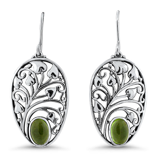 Genuine Peridot .925 Solid Sterling Silver Victorian Antique Style Earrings. #30989