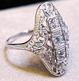 925 Sterling Silver Antique Art Deco Style Cubic Zirconia Wedding/Engagement  Ring #31148