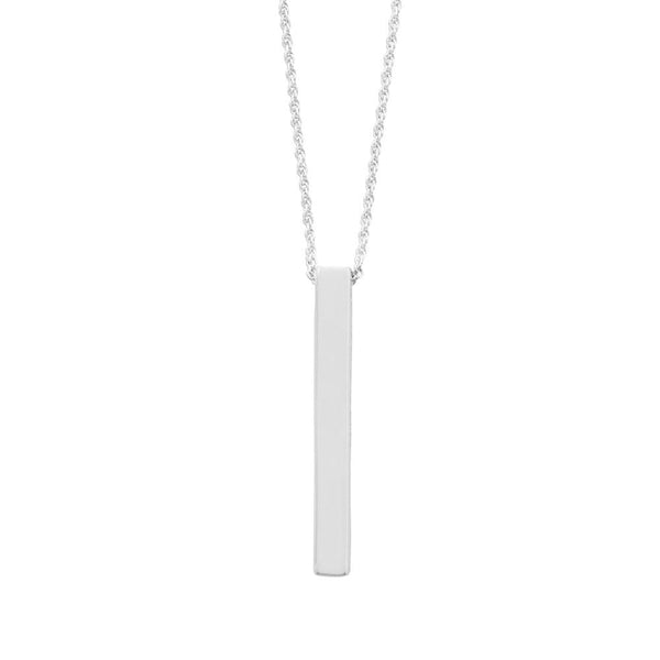 Four Sided Sterling Silver Vertical Bar Drop Necklace