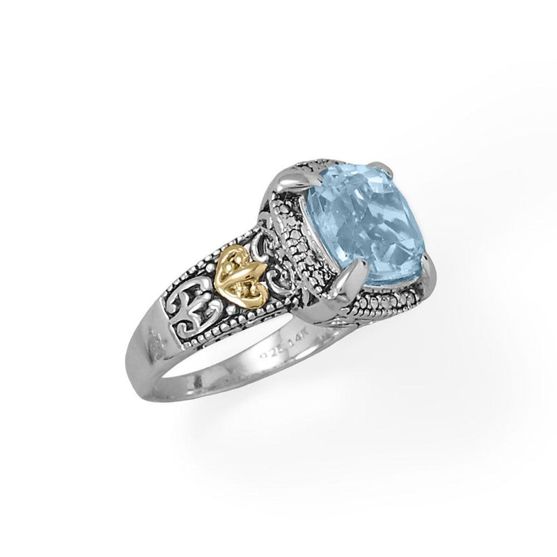 Beautifully Blue! 14 Karat Gold and Rhodium Plated Silver Blue Topaz Ring