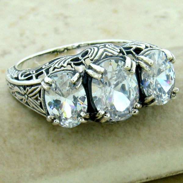 925 Sterling Silver 3 Stone Art Deco Antique Style Cubic Zirconia Ring, #31164