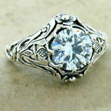 925 Sterling Silver Art Nouveau Scottish Thistle  Cubic Zirconia Ring, #31166