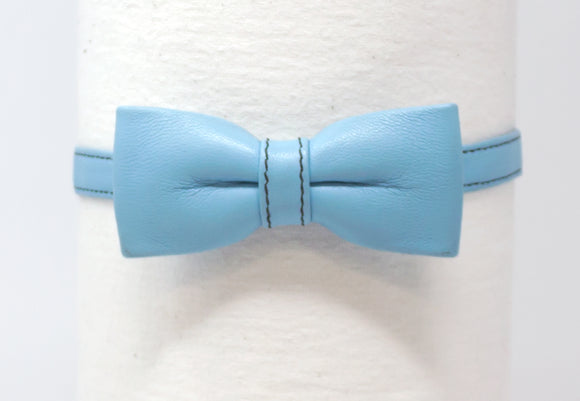 LEATHER BOW TIE - BABY BLUE