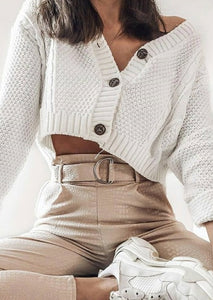 Venice Cropped Ribbed Cardigan