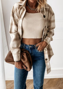 I'm Cozy Nude Plaid Shacket