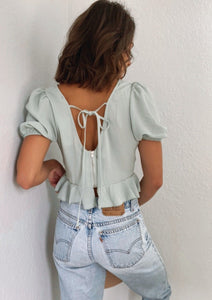 Ibiza Seafoam Off Shoulder Romantic Top