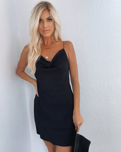 Skylar Mini Black Slip Dress