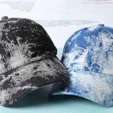 Load image into Gallery viewer, Black Bleach Dye Baseball Hat